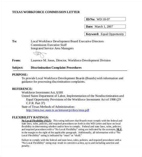 discrimination complaint letters word