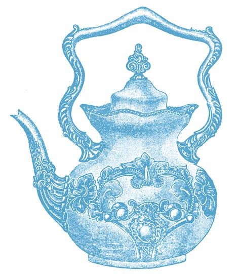 vintage antique blue white ornate teapot high tea clip fancy teapot the graphics