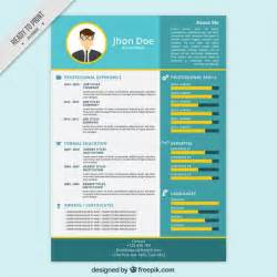blue and yellow resume template vector free