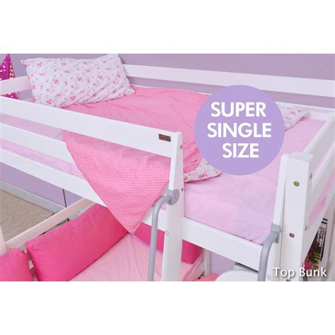 book bed high sleeper with queen bed base book shelf color white
