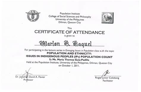 tidbits and bytes exle of certificate of attendance