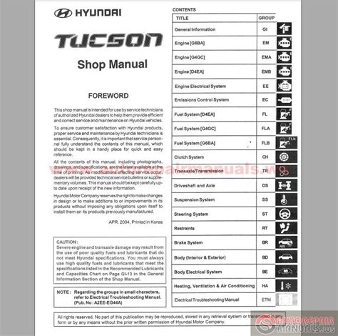 hyundai tucson service repair manual 2004 2009 automotive service repair manual hyundai tucson 2004 service manual auto repair manual forum heavy equipment forums