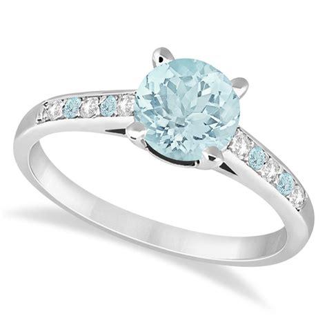 cathedral aquamarine engagement ring 18k white