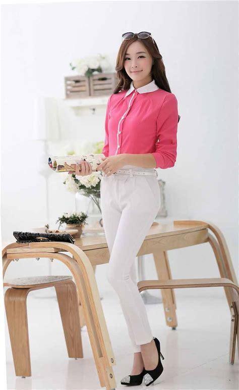 Kemeja Cewek Katun Bordir Import 20 kemeja cewek korea pink model terbaru jual murah import kerja