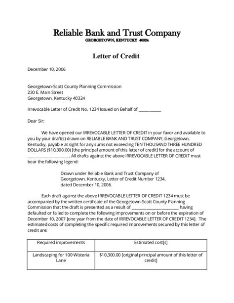 Bank Letter Of Credit Letter Of Credit Sles International Transactions