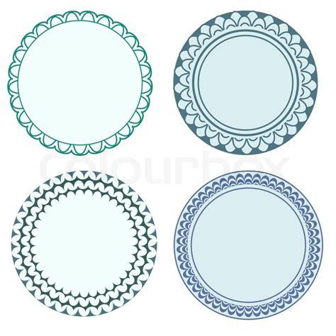 Blau Vertrag Kündigen Vorlage Runde Etiketten Mit Ornamentalen Rahmen Vektorgrafik Colourbox