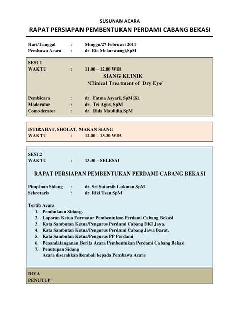Contoh Undangan Notula Rapat by Susunan Acara Rapat Persiapan Pembentukan Perdami Cabang