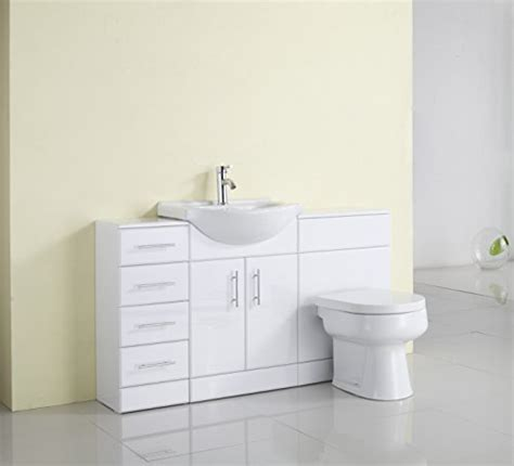 Fitted Bathroom Furniture White Gloss 1400mm White Gloss Fully Fitted Bathroom Furniture Combination Set Search Furniture