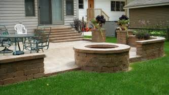 backyard patio pavers unilock paver patio firepit