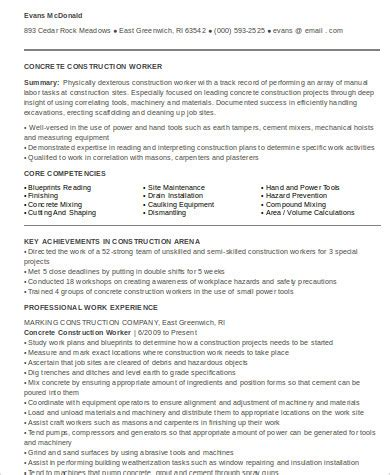 Resume For Construction Worker by 9 Sle Construction Worker Resumes Sle Templates