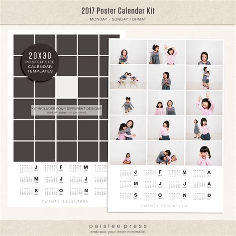 20x30 collage template 2017 poster calendar 20x30