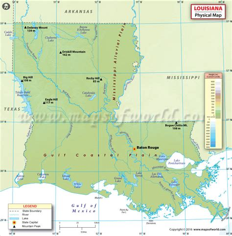 louisiana map usa physical map of louisiana louisiana physical map