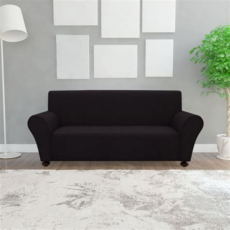 black couch slipcovers vidaxl stretch couch slipcover black polyester jersey