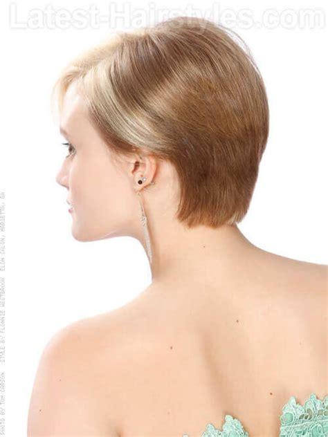 side cut that back fine short blonde asymetric cut fine hair back view short