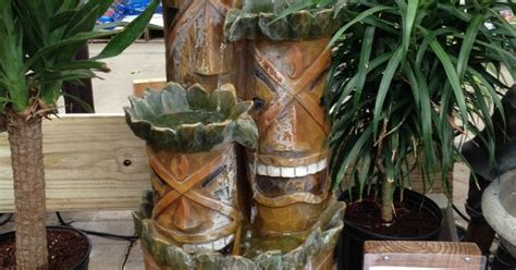 tiki fountain  lowes backyard ideas pinterest