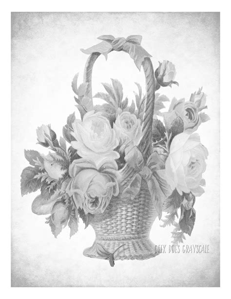 Grayscale Coloring Pages For Adults | flower basket grayscale coloring page adult coloring
