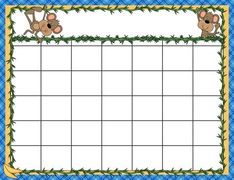 printable monthly calendar for kindergarten 6 best images of free printable preschool calendar