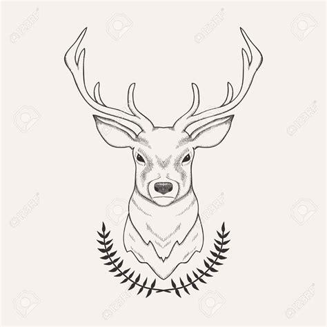 draw vector vector illustration of deer and laurel royalty