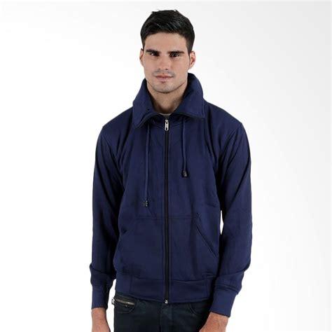 Jaket Pria Biru Dongker jual elfs shop fleece hoodie jaket pria biru