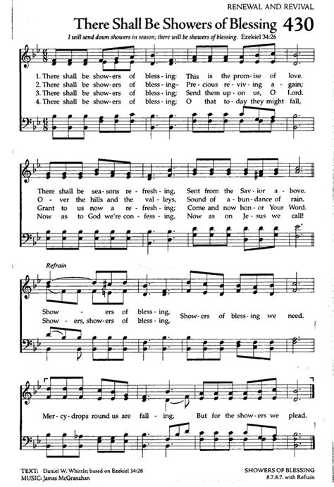 Showers Of Blessings Lyrics by The Celebration Hymnal Songs And Hymns For Worship 430