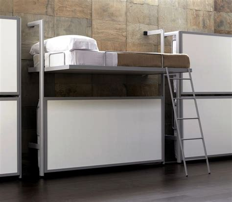 modern wall mounted bunk bed with silver metal materials