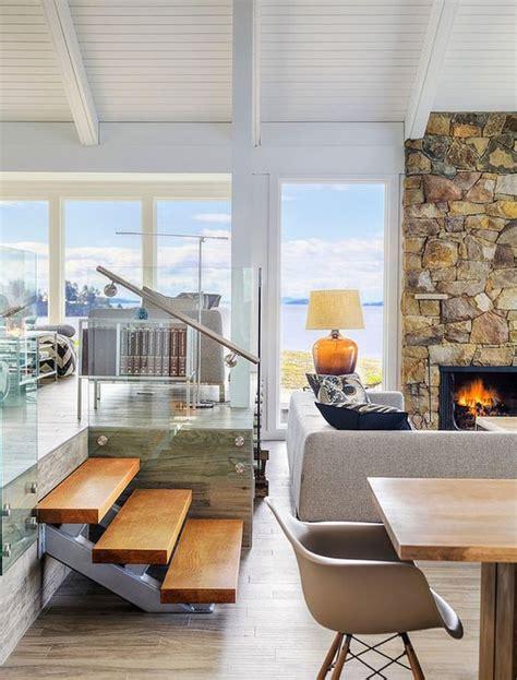 sunken living room railing mid century modern house retreat on pender island design mid century modern and glasses