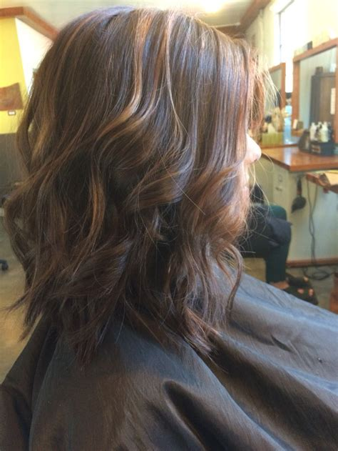 copper and brown sort hair styles curly lob beach waves long bob copper highlights