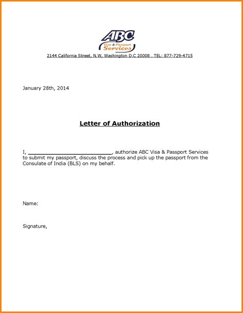 authorization letter for visa application 14 authorization letter to receive passport ledger paper