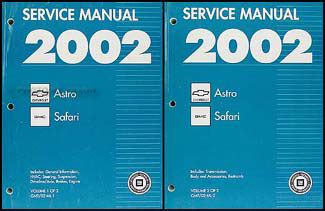 2002 chevy astro and gmc safari van shop manual set repair service minivan