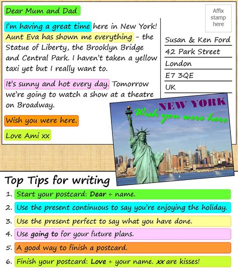 Who Sent The Postcard In Or A Postcard From New York Learnenglish