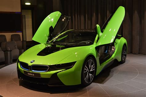 light green bmw bmw i8 in neon green