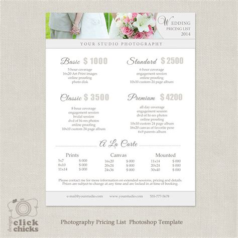 Wedding Photography Package Pricing List Template Photography Pricing Guide Template