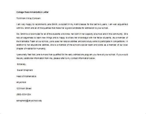 letter of recommendation for student 8 free word excel