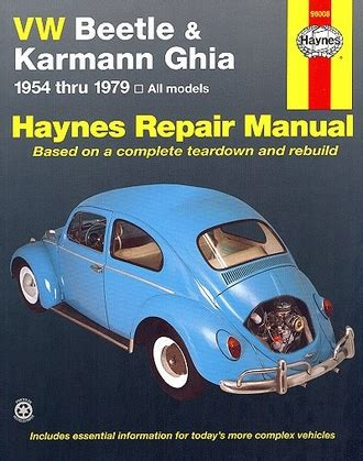 Vw Beetle Amp Karmann Ghia Repair Manual 1954 1979
