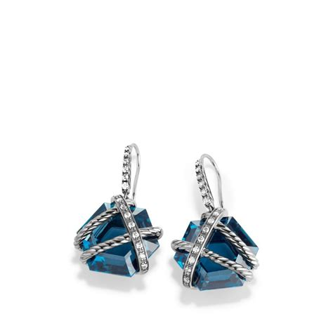 david yurman cable wrap drop earrings with blue topaz and