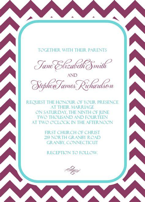 chevron printable invitation template chevron wedding invitation in plum and turquoise wedding
