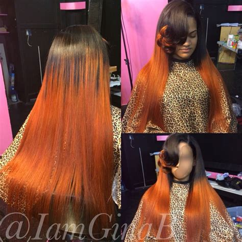 sew in with color sew in weave colored orange styled by ginab hair