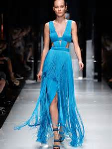 versace caribbean blue fringe gown at 1stdibs