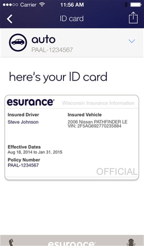 proof of insurance id card template esurance proof of insurance card affordable car insurance