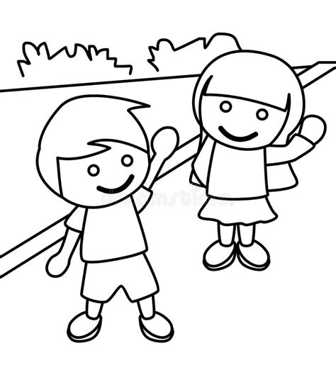 boy waving coloring page boy and girl coloring page designfacebookcover