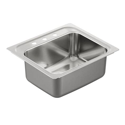 Moenstone Kitchen Sinks Moen 2200 Series Drop In Stainless Steel 25 In 3 Single Bowl Kitchen Sink G221963 The
