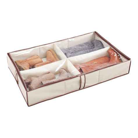 shoe compartment storage 4 compartment underbed shoe organizer the container store