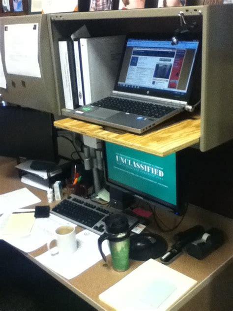 standing desk for cubicle standing desk in cubicle by chris moellering lumberjocks woodworking community