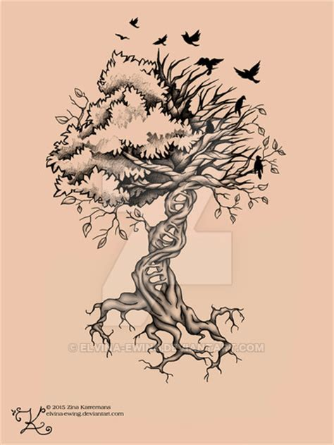 dna tree tattoo tree of birds dna by elvina ewing ink ed