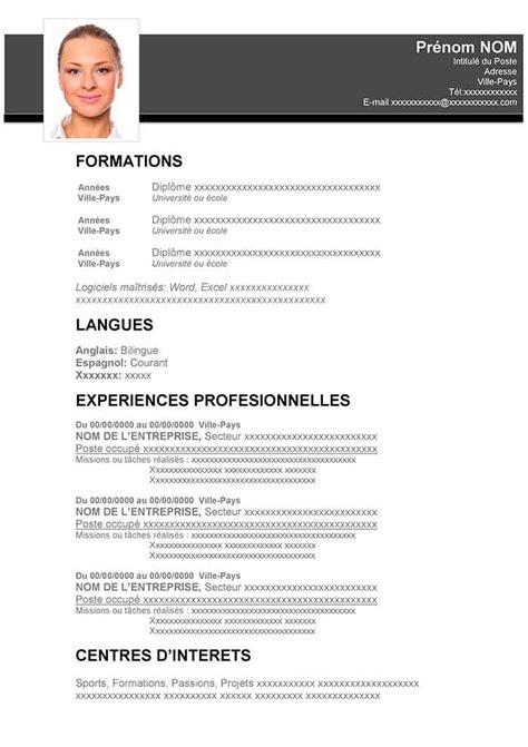 Modèle De Cv Word à Télécharger Gratuit exemple de cv gratuit a imprimer sle resume