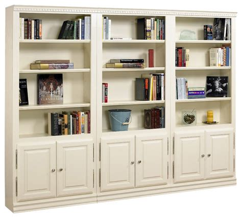 hton 3 pc bookcase wall w doors in pearl white