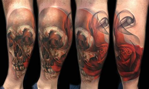 skull rose sleeve tattoo skull and by sebastian nowacki inkedcollector