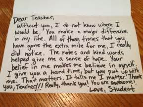 Thank You Letter Ideas For Teachers The Thank You Note You May Never Get Dear