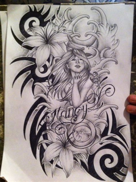 tribal lily flowers tattoo design real photo pictures
