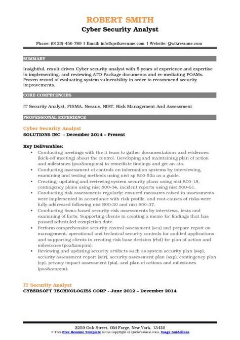 It Security Analyst Resume Sles Qwikresume It Security Resume Template